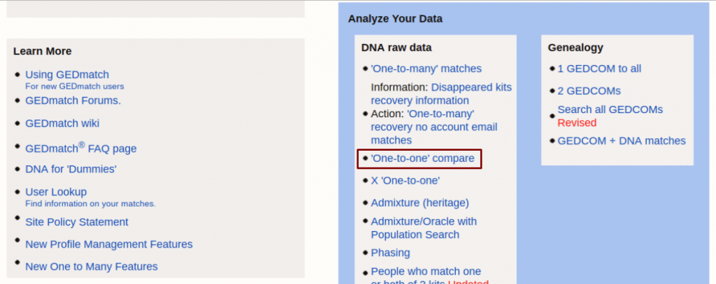 GEDMatch: Select one-to-one compare
