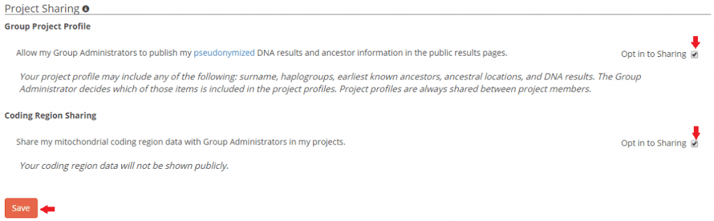 Quick Start – Family Tree DNA Privacy Settings 3